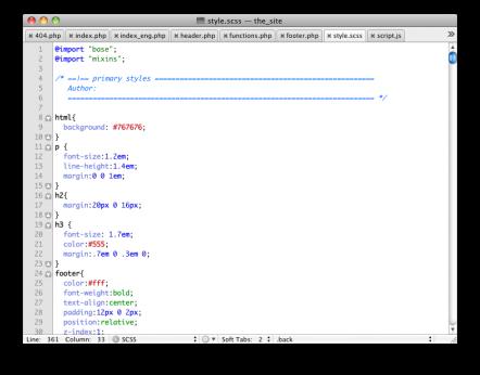 חלון טיפוסי של textmate