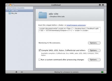 חלון ניהול האתרים בתוכנת LiveReload