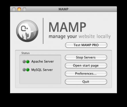 החלון הראשי של תוכנת השרת Mamp